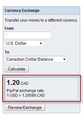 Paypal calculated rate