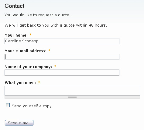 The contact form to request a