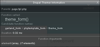 The all-purpose theme_form function is used to theme the register form.